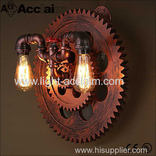 Gear wall sconce Decorative retro gear pipe wall lamp aisle personality loft Industrial style wall lamp