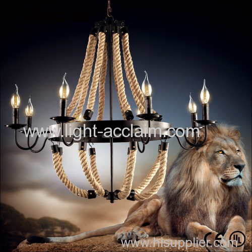 Industrial rope style candle chandelier Industrial Candle Chandeliers American chandelier