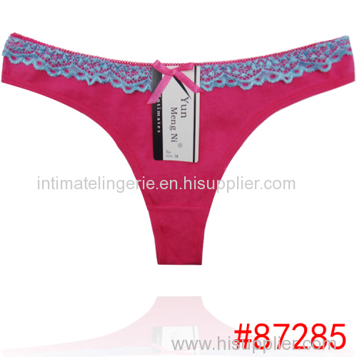 New laced cotton thong cute lady panties sexy women underwear lady g-string women stretched t-back sexy intiamte hot lin