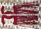 Red Velvet Sew On Clothing Appliques Handmade Laser Cutting With Tassel