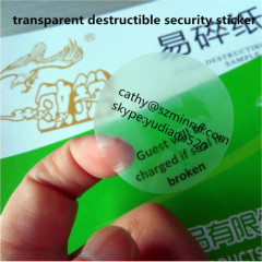transparent destructible vinyl label