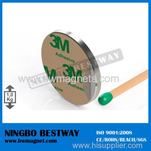 3M Self Adhesive N35 Neodymium Magnets D25 x 2mm Nickel Coated