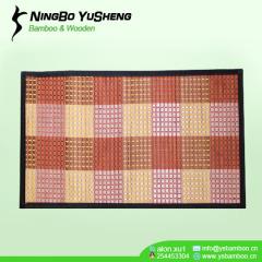 woven grid design bamboo door mat