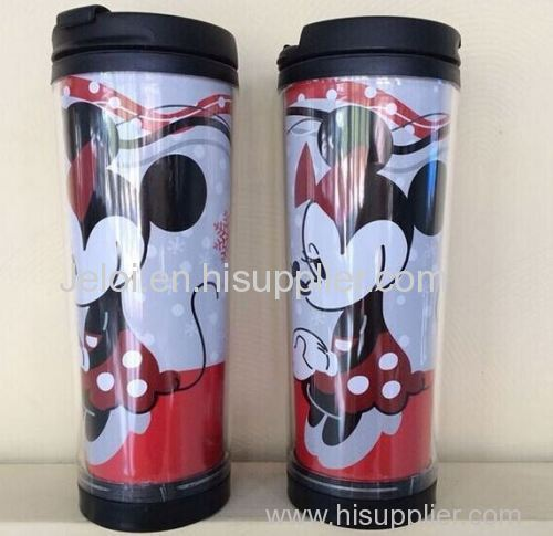350ml promotion gift double plastic cup double wall plastic