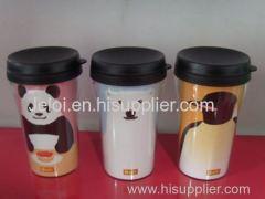 250ml/8oz PP plastic inner PS plastic outer double wall plastic tumbler
