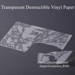Custom Printed Clear Breakable Sticker Material Blank Destructible Transparent Vinyl Label Papers
