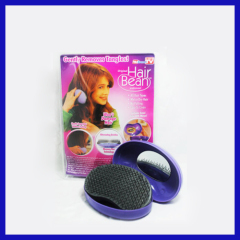Plastic bean shaped hair brush purple color