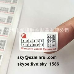 date warranty sticker/quality warranty sticker/one time use sticker