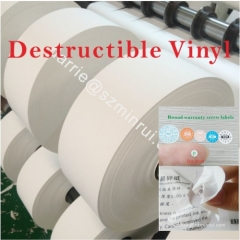 China top factory of security label paper destructible label paper roll for tamper evident warranty screw vinyl sticker