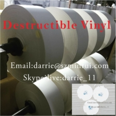 Best price of high quality destructible label paper roll for warranty screw sticker warranty void if seal broken