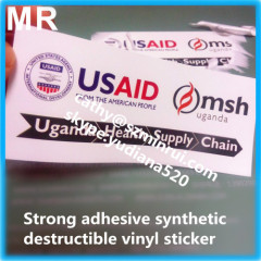 strong water based glue destructive vinyl sticker sheets