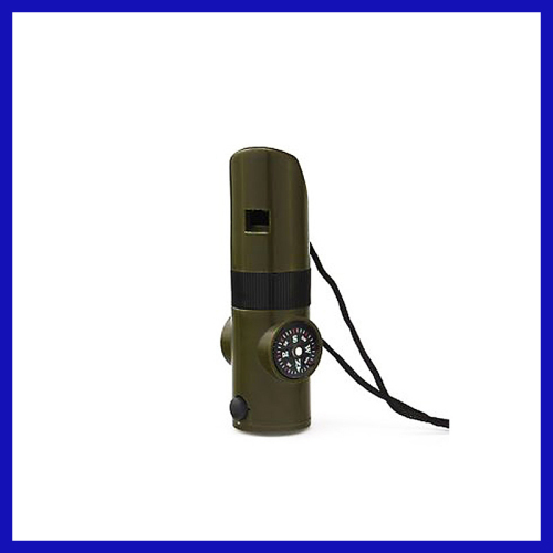 7 in 1 Outdoor Survival Whistle Army Green multi-function rescue whistle with compass thermometer magnifying glass