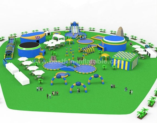 Huge Inflatable Water Park with Water Slide and Swimming Pool