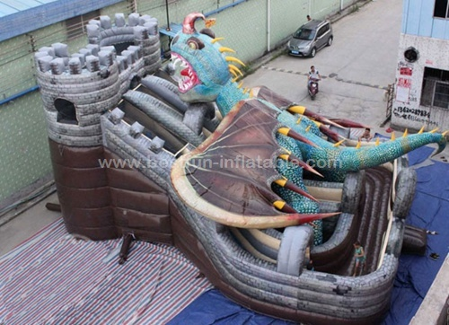 Commercial inflatable dragon monster slide