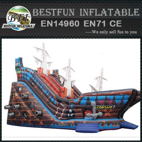 Giant Inflatable pirate ship slide for promotional