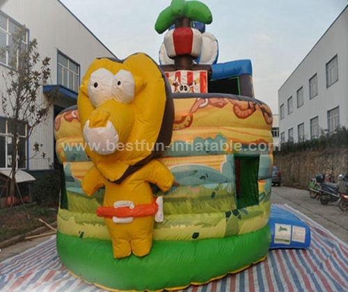 Forest animals theme kids giant inflatable pirate ship slide