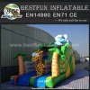 Fun animals kids playing giant inflatable slide