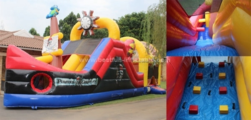 Inflatable jumping pirate ship combo slide