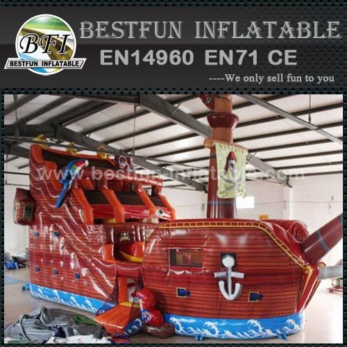 Amusement park pirate ship inflatable slides
