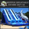Inflatable ski jump water slide