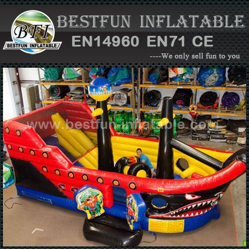 Pirate ship inflatable slide with jumping place