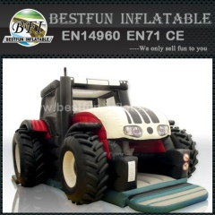 Giant tractor inflatable slide