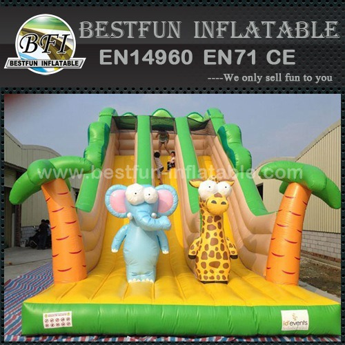 Cheap double lanes animals inflatable slide