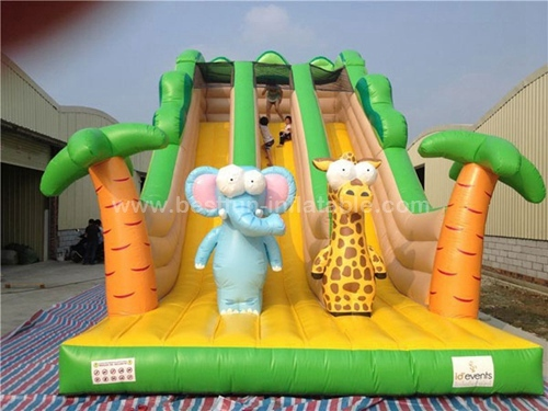 Zip line animal inflatable slides