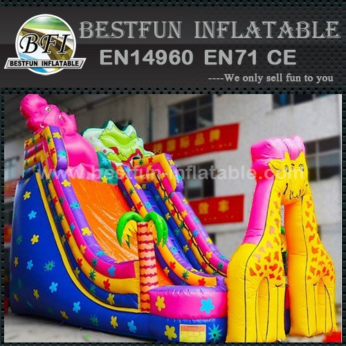 Colorful Jungle world inflatable castle slide
