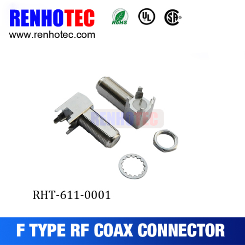 75 ohm F Type Female PCB Crimp Cable RF Electrical Coaxial Tube F Connectors