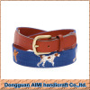 AIMI Craft 100% handmade fashion adult needlepoint belt with dog pattern design
