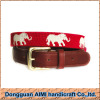 AIMI New design 100% handmade men's fashion needlepoint belt with elephant pattern