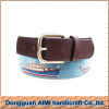 AIMI Hot selling 100% handmade needlepoint belt with genuine cowhide leather