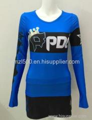 Custom all star cheerleading uniforms fashionable hot long arm and skirts cheap china manufacturer