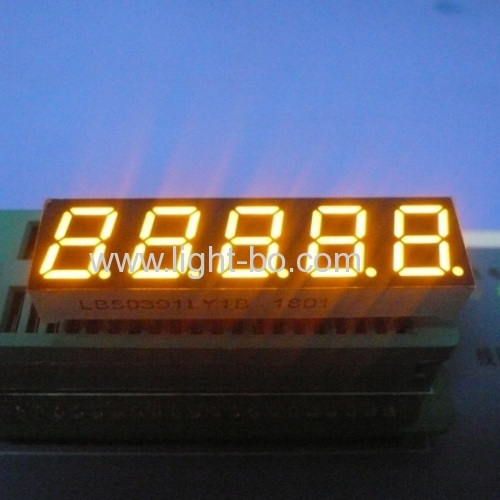 Super yellow 0.39  5 digit 7 segment led display common cathode fortemperature humidity indicator