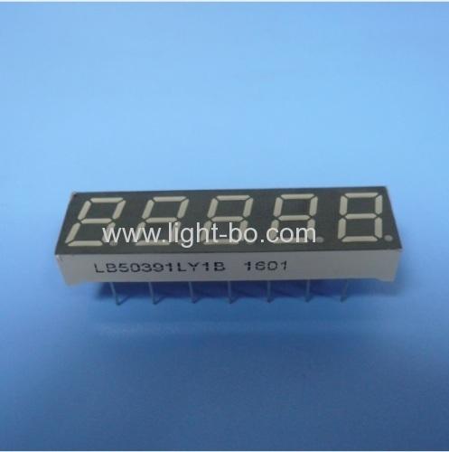 Super yellow 0.39  5 digit 7 segment led display common cathode fortemperature humidity indicator