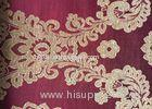 Floral Red Jacquard Woven Fabric Classical Soft With Anti-Static