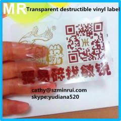 self adhesive transparant sticker labels