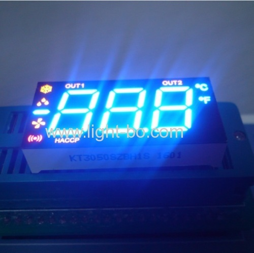 China Triple digit common anode super bright green/yellow/red 7 segment led display for Fridge control.
