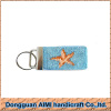 AIMI Light blue leather key fob needlepoint key chain for sale