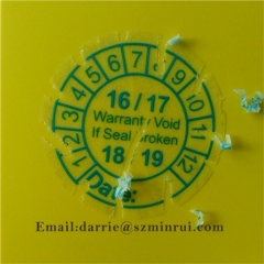 2016 hotsaleTransparent destructible warranty label warranty void if seal broken by China factory of adhesive products