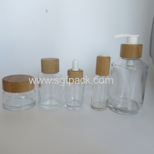 200ml inclined shoulder clear glass bottle