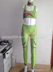 Lycra fabric gym printed yoga sports wear pants and sports bra sexy open outdoor beach wear