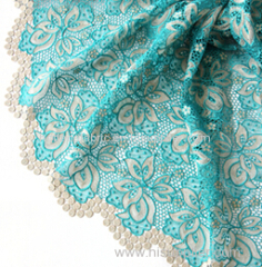 embroidery lace fabric with rhinestonres