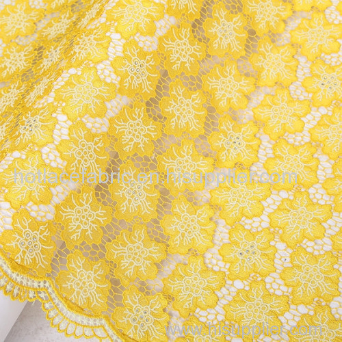 Unique design african yellow cord lace fabrics high quality with stones for nigerian wedding dress