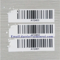 China top self-adhesive destructible label manufacturer custom rectangle warranty label with logo and Barcode
