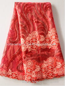 Embroidery on mesh best selling african high quality sequines lace fabric for 2016 wedding party dress