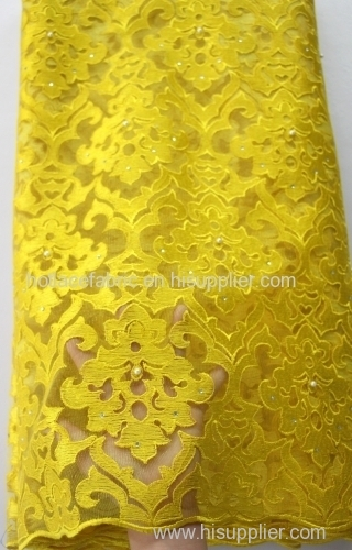2016 latest mesh french net high quality african tulle lace fabric yellow with beads rhinestones for wedding party dress