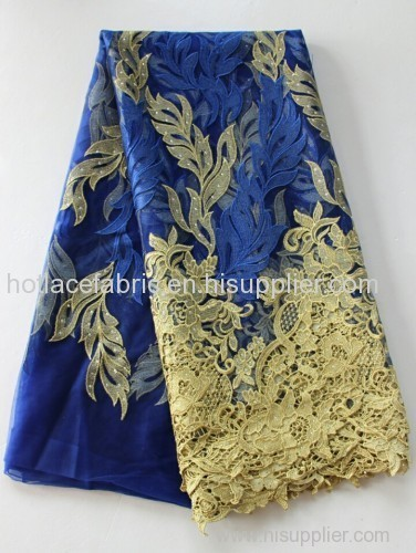 Hangzhou wholesale rhinestoned bridal lace fabric wedding dress lace french lace fabric for african style women dress
