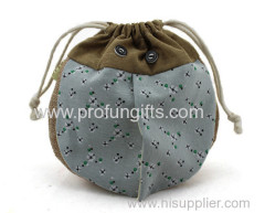 Promotional Gift Design Flax drawstring bag &Change pocket